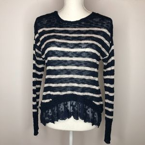 Ransom Collection Striped Sweater with Lace Detail